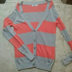 Garage Long Sleeve Striped Cardigan New without tag. A cute cardigan in grey and orange stripes.. never worn. Pretty light weight, ribbed trim, v-neck and button-up. Great for layering. Garage Sweaters Cardigans