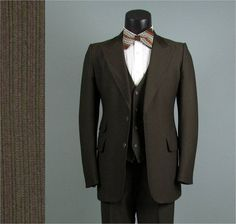 Vintage Mens Suit 1970s Chocolate Brown AMERICAN by jauntyrooster, $175.00