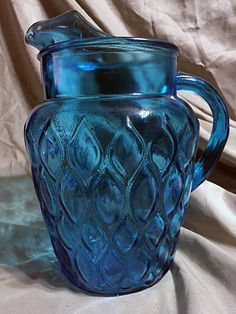 Vintage Aqua Blue Pitcher with Ice Lip and Tear Drop Design Drops Design, Vintage Glassware, Aqua Blue, Lips, Vase, Ebay, Vases, Jars