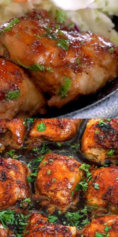 These Brown Sugar Garlic Chicken thighs are your new favorite chicken dish, believe me it's just that good. Not only are they perfectly cooked and scrumptiously moist, but they're swimming in a sweet, savory, and slightly spicy sauce that is perfect for s Easy Honey Garlic Chicken, Garlic Chicken Recipes, Salmon Recipes, Meat Recipes, Cooker Recipes, Healthy Recipes, Brown Sugar Chicken, Chicken Drumstick Recipes, Chicken Savory Recipe