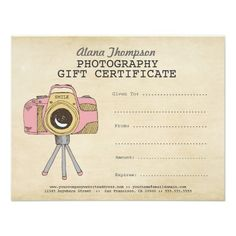 Photographer Photography Gift Certificate Template