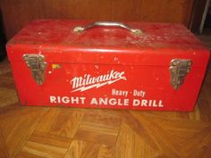 Vintage Milwaukee Heavy duty Right Drill Carpenters Tool Box all catagories