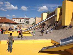 lyon-playground-BASE-07 « Landscape Architecture Works | Landezine omgevingsaanleg geel speeltuin speelplein stedenbouw collectief glijbaan hout kleur