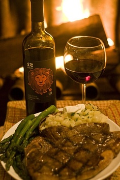 Leo Old Vine Zinfandel by 12 Signs Wine  food pairing with steak, asparagus, baked potato