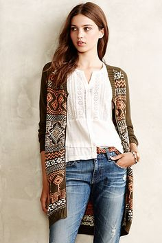 My colors! I sure love olive. Zipped Jacquard Cardigan #anthropologie