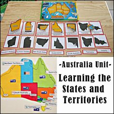 Australia Unit -Learning the States and Territories - FREE Printable Australia map and link to printable Australian geography three part cards
