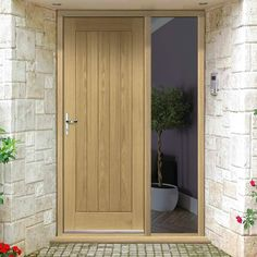 The Part L Complaint Geneva External Oak Door and Frame Set - One Unglazed Sidelight is a beautiful and contemporary design which can be used as a front or back door.    #door #doorandframe