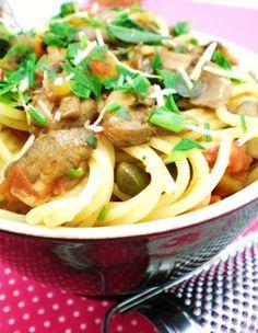 Spaghetti com Cogumelo e Alcaparras | Figos & Funghis