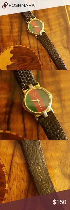 b4e02f881 Authentic Vintage Gucci watch Vintage Gucci leather watch! Black leather  strap meant for smaller wrist