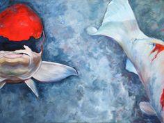 "Deep Blue with Red Acrylic on canvas 36"" x 48"" $2000.00 ©NanciHersh  nancihersh@gmail.com"