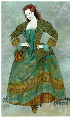 """Costume concept art for Broadway's """"Something Rotten!"""" a fractured retelling of the Shakespearean theatrical scene. Art Costume, Costume Ideas, Costume Design Sketch, Broadway Costumes, Vintage Magazines, Fairy Tales, Concept Art, Character Design, Scene"""