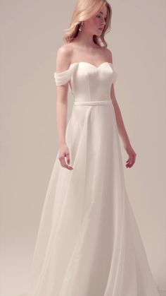 Off Shoulder Crepe Sweetheart A-Lane Wedding Dress / Bridal Gown with Open Back and a Train. Dress by Atelier Emé