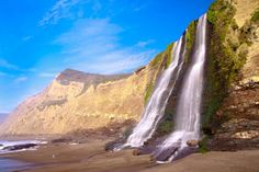 Alamere Falls in Point Reyes National Seashore, California is the waterfall dropping directly into the Ocean