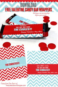 Valentine Candy Bar Wrappers {FREE Download} | Personalize in File Before You Print! | Enjoy from Kim Byers of TheCelebrationShoppe.com #valentines #freevalentinedownload #chevron