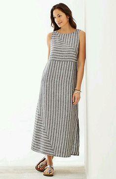 long striped linen dress – Linen Dresses For Women Linen Dresses, Cotton Dresses, Casual Dresses, Fashion Dresses, Summer Dresses, Striped Linen, Striped Dress, Sewing Dress, 2020 Fashion Trends