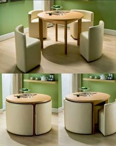 space saving table and chairs.I wonder if you could build these with frame, foam and cover. I would love to do it to match décor or to do a mini set for in a kids playroom house design with kids Round Dining Table & Chairs for Small Homes Smart Furniture, Home Decor Furniture, Modern Furniture, Diy Home Decor, Room Decor, Furniture Ideas, Folding Furniture, Compact Furniture, Rustic Furniture