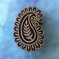 Paisley design wood stamp for blocking. Create your own fabric design then go to colouricious.com to learn how to make a pillow case or a cushion cover.