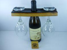 Barrel Stave Bottle Glass Holder