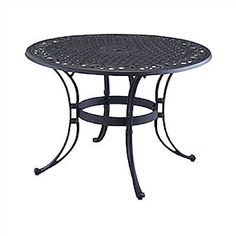 """48"""" Round Black Metal Patio Dining Table with Umbrella Hole"""