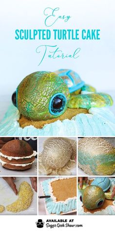Sculpted Turtle Cake + Video Tutorial Learn how to make an adorable sea turtle cake with a cool gold crackled fondant texture, glitter eyes and simple sculpting techniques that anyone… Cake Decorating Designs, Creative Cake Decorating, Cake Decorating Techniques, Creative Cakes, Cake Designs, Cake Decorating With Fondant, Decorating Hacks, Food Design, Foundant