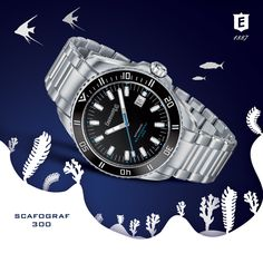 The sea and its mysterious depths have always fascinated men: an infinite horizon, the stuff of feats and legends, a submerged world that is yet to be fully explored, but whose surface is closely bound to the life of man.  Water-resistant to 300 m, Scafograf 300 is designed to be worn by the adventurous and sporty with a dynamic spirit and love of life.  #deepevolution #scafograf300 #300m #eberhard_co #eberhardwatches #divingwatch #scafograf #eberhard