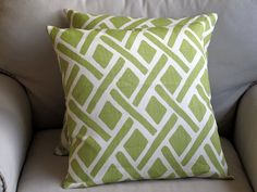 NEW LEAF Linen Pillow Cover 18x18 by yiayias on Etsy, $35.00