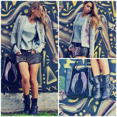 5th Store  Shorts, 5th Store  Blazer, Kafé Boots, Ma Bags Bag