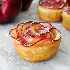 This dessert has the winning factors of easy to make and delicious. Puff Pastry Apple Rosettes that are crisp make a delicious dessert. Baked Apple Dessert, Apple Dessert Recipes, No Cook Desserts, Apple Recipes, Just Desserts, Sweet Recipes, Baking Recipes, Bite Size Desserts, Swedish Recipes