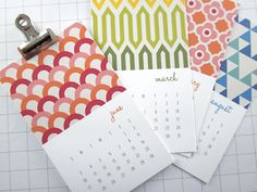 Modern Patterns Mini 2013 Calendar from Monkey Mind Design on Etsy