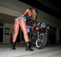youtu.be/BwNiTGerymM Daytona Beach Bike Week This picture I am posting with a bike in glossy pantyhose under my jean shorts. www.mikiesinfomall.com