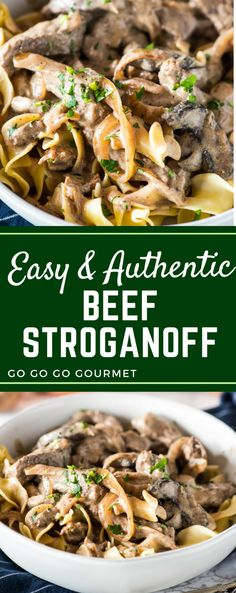 This easy homemade beef stroganoff is the best authentic recipe out there! (Even better than the Food Network's Pioneer Woman!) Ready in under 30 minutes, you can use a variety of beef cuts depending on your budget. #authenticbeefstroganoff #comfortfood #easydinnerrecipes #beefstroganoff #gogogogourmet