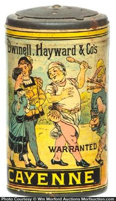 Scarce, Very Early Paper Label Spice Tin Cayenne Featuring Beautiful Multi-Color Graphics Dwinell, Hayward and Co. Sold At: Wm Morford Antiques Looking To Buy Or Sell?