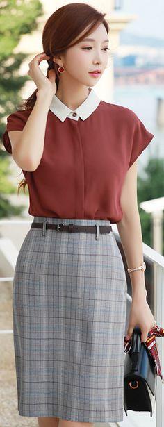 StyleOnme_Check Print Belted H-Line Skirt #pencilskirt #check #workwear #koreanfashion #kstyle #kfashion #seoul #summertrend