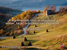 """""""A legnehezebb úton is végigmegy az ember, ha az örömökkel van kikövezve."""" Nógrádi Gábor"""
