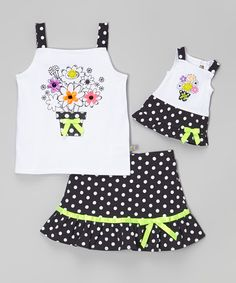 Dollie & Me Black & White Floral Tank Set & Doll Outfit - Girls | zulily