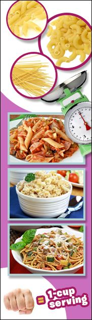 Hungry Girl solves the pasta portion puzzle! Ww Recipes, Skinny Recipes, Low Calorie Recipes, Cooking Recipes, Healthy Recipes, Pasta Recipes, Cooking 101, Healthy Cooking, Healthy Eating