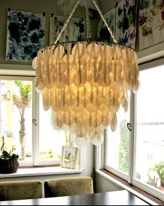 DIY Faux Capiz Shell Chandelier - DIY & Crafts For Moms #diy