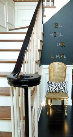 Using Magnetic primer (Rust-oleum) and Chalkboard paint so that you can both write and put magnets on the wall. Can change it out without nails. LOVE this.  Could easily do this to a picture.  Our Fifth House: Be Nice Or Leave