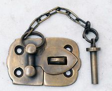 Vintage Cabin Cabinet Door Latch Hook Solid Brass Hasp Lock Gate