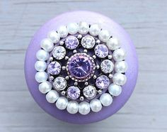 Purple Wooden Drawer Knobs with Crystals and Pearls CUSTOMIZE (WK10)