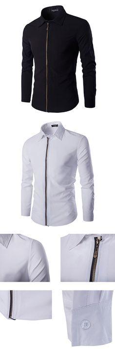 US$19.99 (47% OFF) Casual Simple Band Collar Zipper Up Slim Designer Shirts for Men