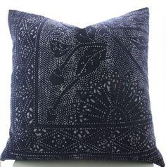 Chinese Indigo Batik Pillow Cover Vintage Textile by Boho Pillow 22x22 & 24x24