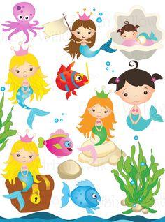 MERMAID clip art. Cli art fish. Undersea clipart. Angel fish clipart. Clam…