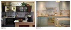 Antes E Depois Da Cozinha Com Sala De Jantar: Tudo Turquesa E Branco