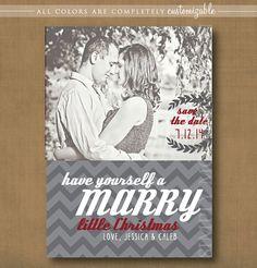 save the date christmas card, marry little christmas, chevron,  PRINTABLE #christmas #wedding #savethedate