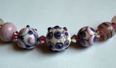 necklace with handmade lampwork glass