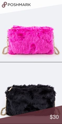 The Nikki-Fur Crossbody Swing Bag Brand New! ❕Price Is Firm❕ Fur Crossbody Swing Bag Available in Pink and Black Approximate Length 10 inches Approximate Width 1 inch Approximate Height  6.5 inches Made of Faux Fur faith and sparkle Bags Crossbody Bags