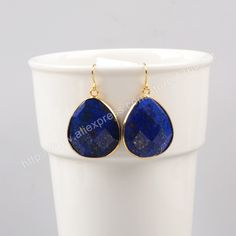 Gold Plated Natural Drop Lapis Lazuli Slice Faceted Dangle Earring G1000 Druzy Jewelry