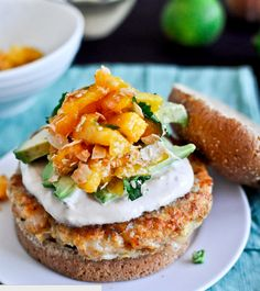 Shrimp Burgers with Chipotle Cream and Peach Salsa