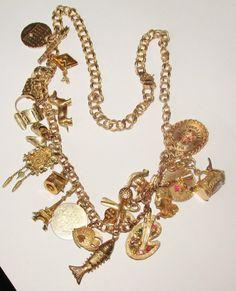 Vintage 14k Gold Large 78 Gram 22 Gold Charm Necklace Stunning One of A Kind | eBay